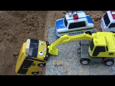 Thumbnail: Lani Tayo the Little Bus toy accident & Excavators, Ambulance, Police car rescue toys play