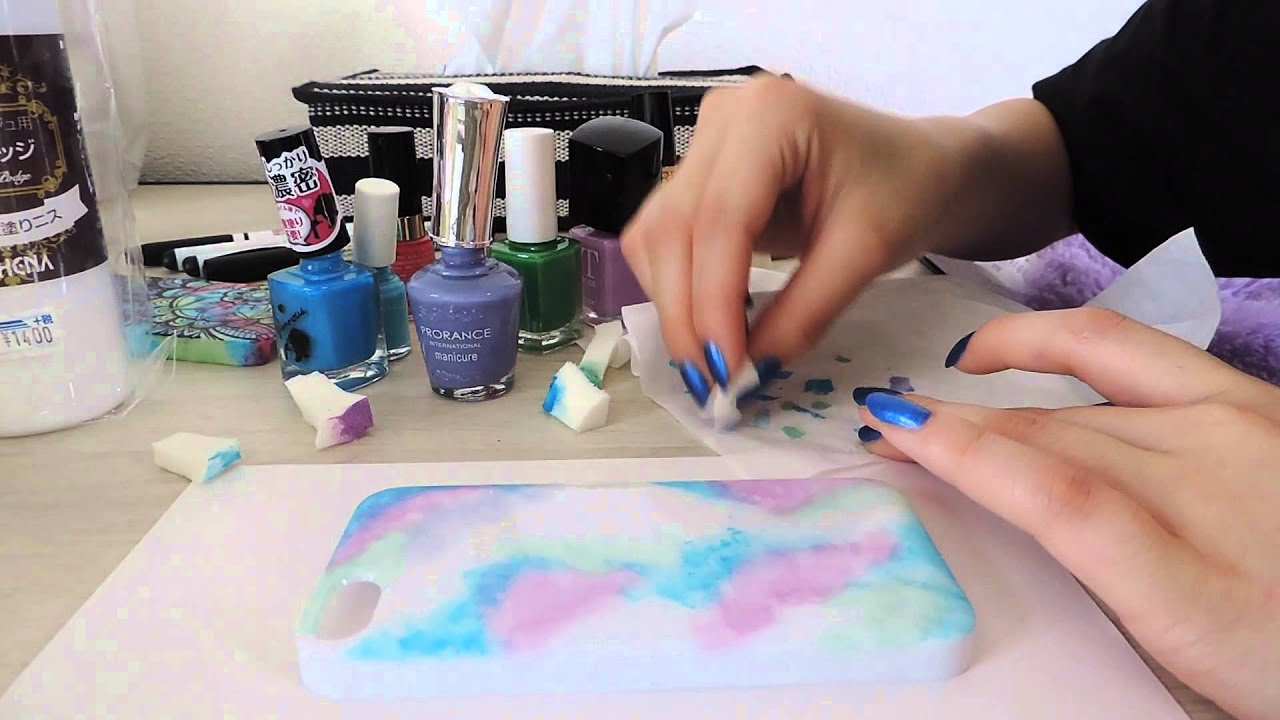 DIY iPhone case with nail polish - YouTube