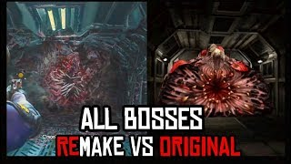 ALL BOSSES REMAKE vs ORIGINAL Side by Side Gameplay Comparison - Resident Evil 2 Remake
