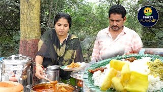 Wife And Husband Selling Delicious Meals On Road Side || Godavari Homely Meals || Street Flavour
