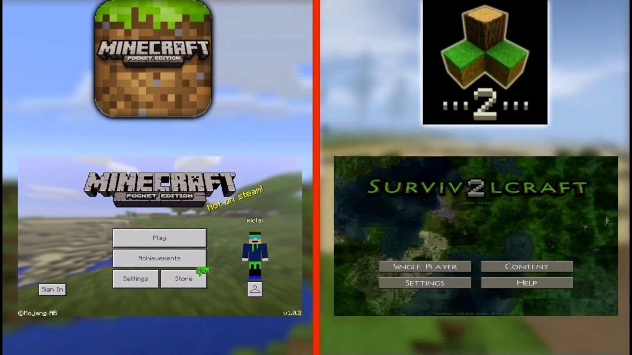 Minecraft Pocket Edition VS SurvivalCraft 2 SIDE BY SIDE Comparison