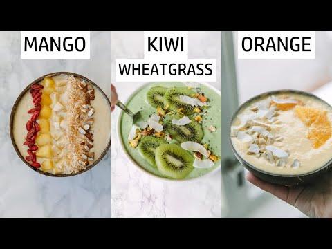 3 smoothie bowls | KIWI, MANGO and ORANGE