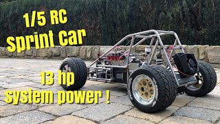1/5 RC Sprint Car - drivetrain completed! Hybrid system reveal