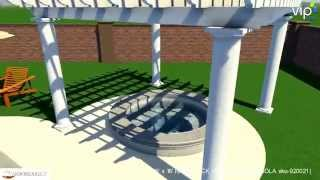 Arbors Direct - 16'x16' Stock Model / Fiberglass Pergola W/ Round Non-tapered Columns