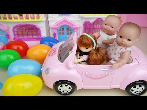 Surprise eggs and Baby Doli car and slide house toys baby doll play