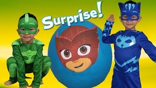 pj masks super giant toys surprise egg opening fun with catboy gekko ckn toys