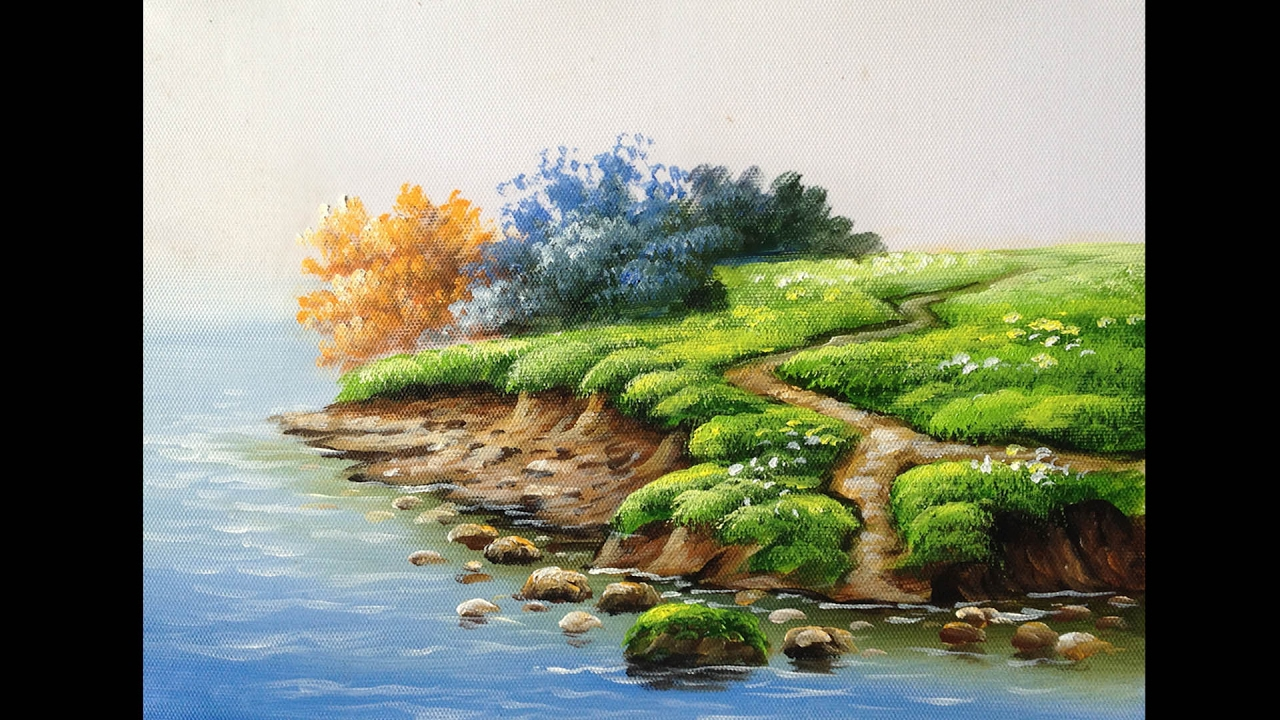 How to Paint Riverbank with Acrylics lesson 1 - YouTube