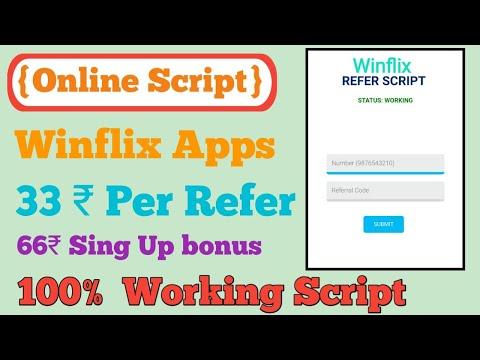 {Online Script} Winflix 66₹ Sign Up Bonus || 33₹ Per Refer || Instantly payment|| Refer Bypass
