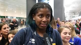 Mondiali femminili 2018: la felicità di Sylla e del CT Mazzanti a Malpensa