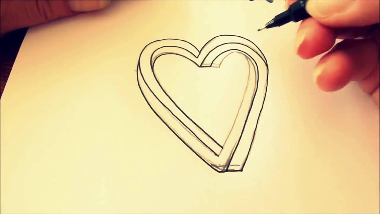 Tuto Comment Dessiner Un Coeur Réaliste 3d Youtube