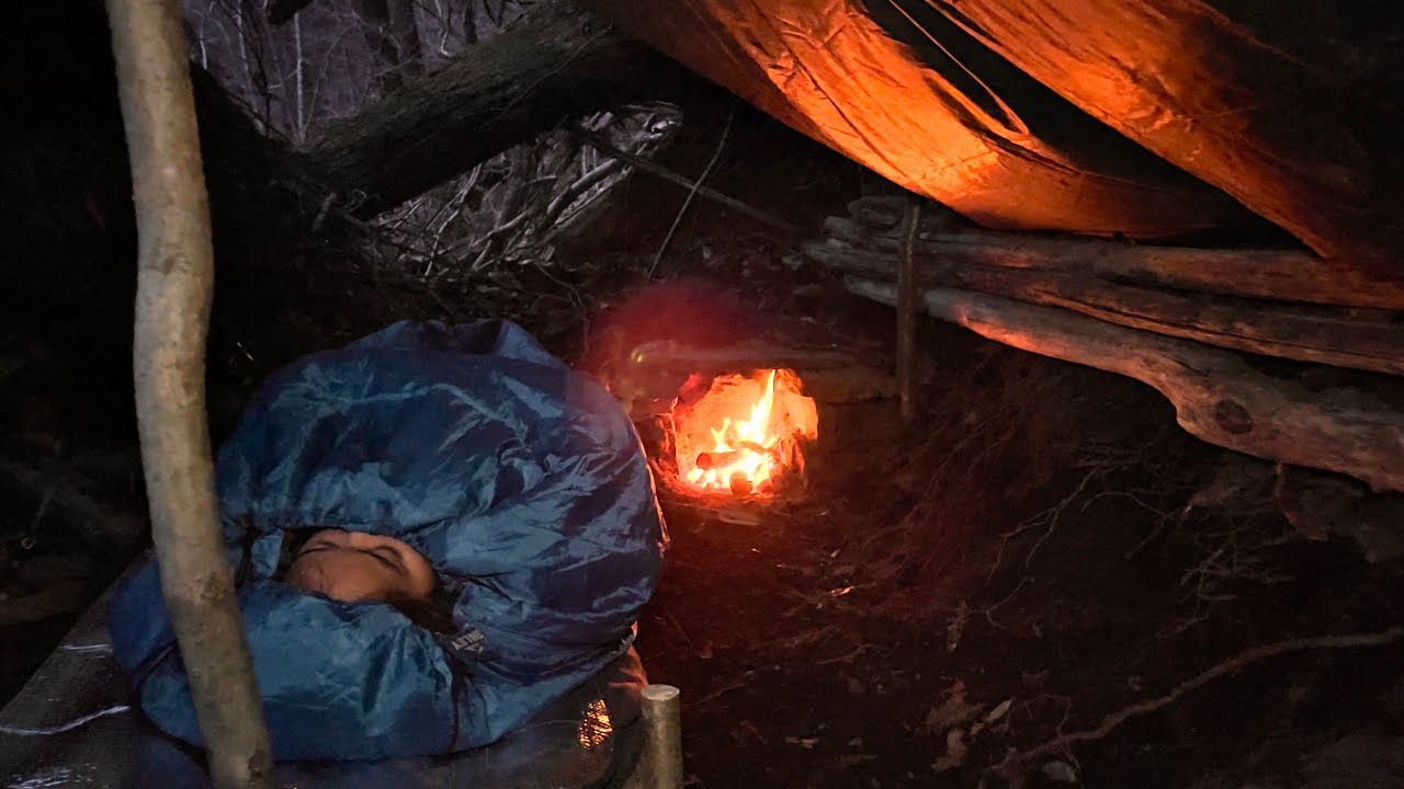 SURVIVAL CAMPING in UNDERGROUND BUNKER — Emergency BUSHCRAFT Natural Shelter BUILD — SOLO OVERNIGHT