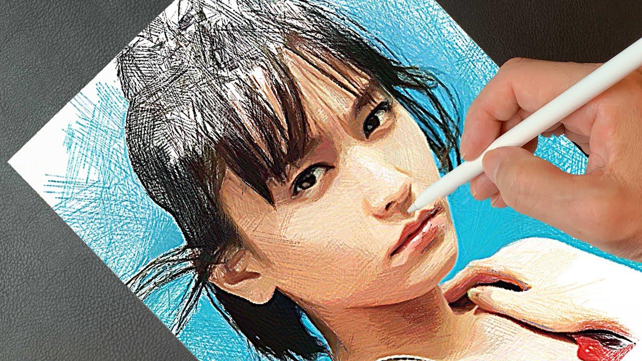 Drawing 新垣結衣(Yui Aragaki)ガッキー | How to painting | プロクリエイトで絵描く | 似顔絵イラストメイキング デッサンの描き方 | ArtyCoaty