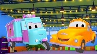 Odtahový vůz Tom a cukrářské auto   Animák z prostředí staveniště s auty a nákladními vozy pro děti