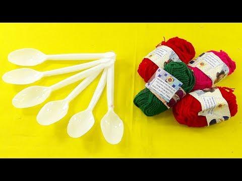DIY Plastic spoon & color woolen craft idea   best out of waste   Plastic spoon reuse idea