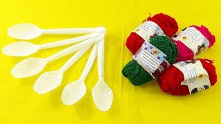 DIY Plastic spoon & color woolen craft idea | best out of waste | Plastic spoon reuse idea