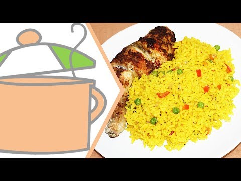 Turmeric Rice (Yellow Rice) with Onion Baked Chicken