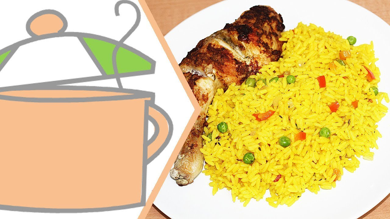 Turmeric Rice Yellow Rice With Onion Baked Chicken All Nigerian Recipes Youtube