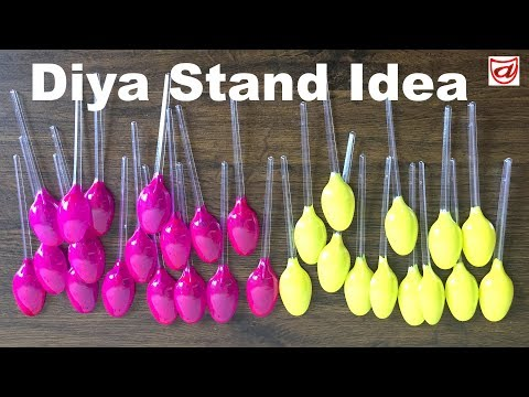 DIY #Diwali & #Christmas Home #Decoration Ideas with Recycled Plastic Spoon | Decorative Diya Stand