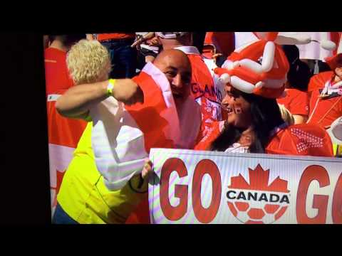 """Canada vs England 2015 woman's World Cup... Canadian """"lady"""" flips off English dude"""