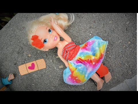 Thumbnail: Anna and Elsa Toddlers Elsya has accident #1 falls hurts leg Barbie Bully Frozen Doll Toys In Action