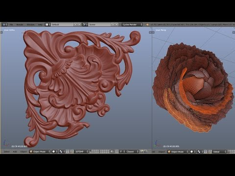 1D Blender Baroque - Corner decor element modeling timelapse