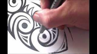 Drawing a Tribal Maori Style Tattoo Design
