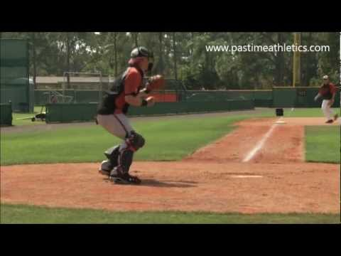 Matt Wieters Catcher Slow Motion Throwing Mechanics to Third - Baltimore Orioles MLB Block Drills