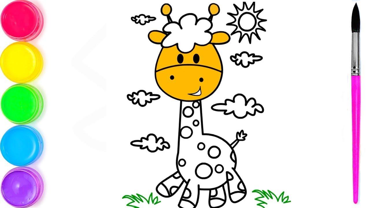 Жираф Рисование и раскраска | Веселые раскраски для детей ...