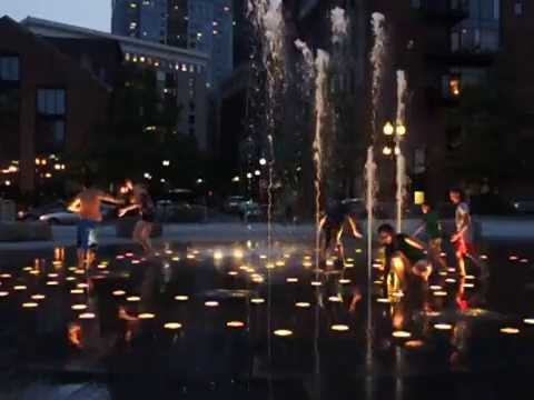 120FPS slow motion: Kids enjoying Rose Fitzgerald Kennedy Greenway Fountain