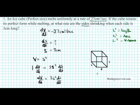 cu4l5b related rates cube square application of derivatives calculus I AB BC AP IB exam