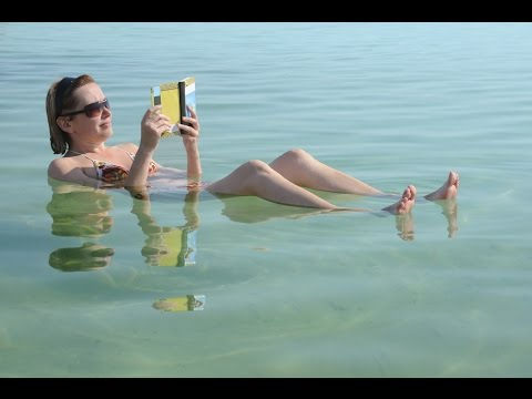 Floating in the lowest place on earth. The Dead Sea Israel.