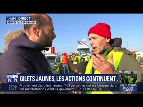 """""""Je resterai jusqu'au bout"""", témoigne ce gilet jaune sur un barrage filtrant près de Rennes"""