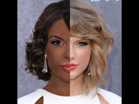 Taylor Swift - White To Black Photoshop Transformation