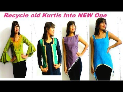 Convert/Recycle Old Kurtis into 4 Different Ways/ DIY Top/Jacket/Low-high kurti