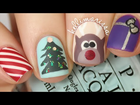 4 christmas nail art designs easy kelli marissa youtube prinsesfo Image collections