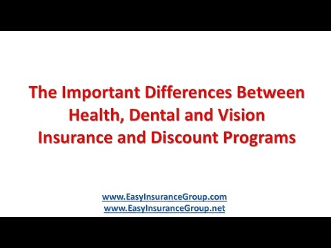 Difference Between Health, Dental and Vision Insurance and Healthcare Discount Programs