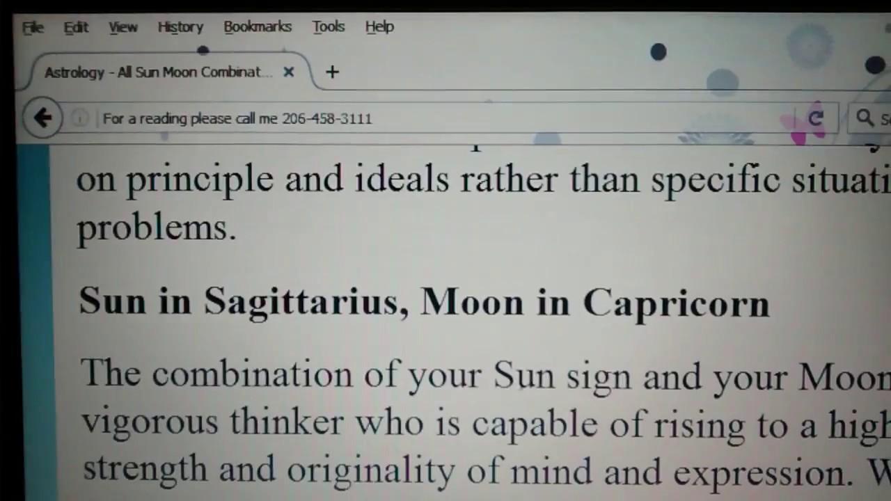Sun in Sagittarius with Moon in Capricorn