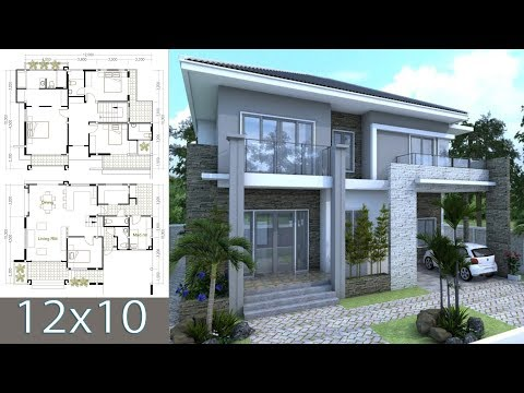 SketchUp Modern Home 10x12m with 4 bedrooms and One Mad room
