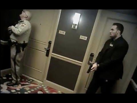 Officers wait in hallway during Las Vegas shooting on Oct. 1
