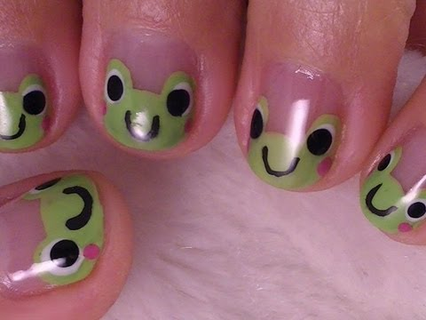 Simple Cute Frog Nail Art For Short Nails Youtube