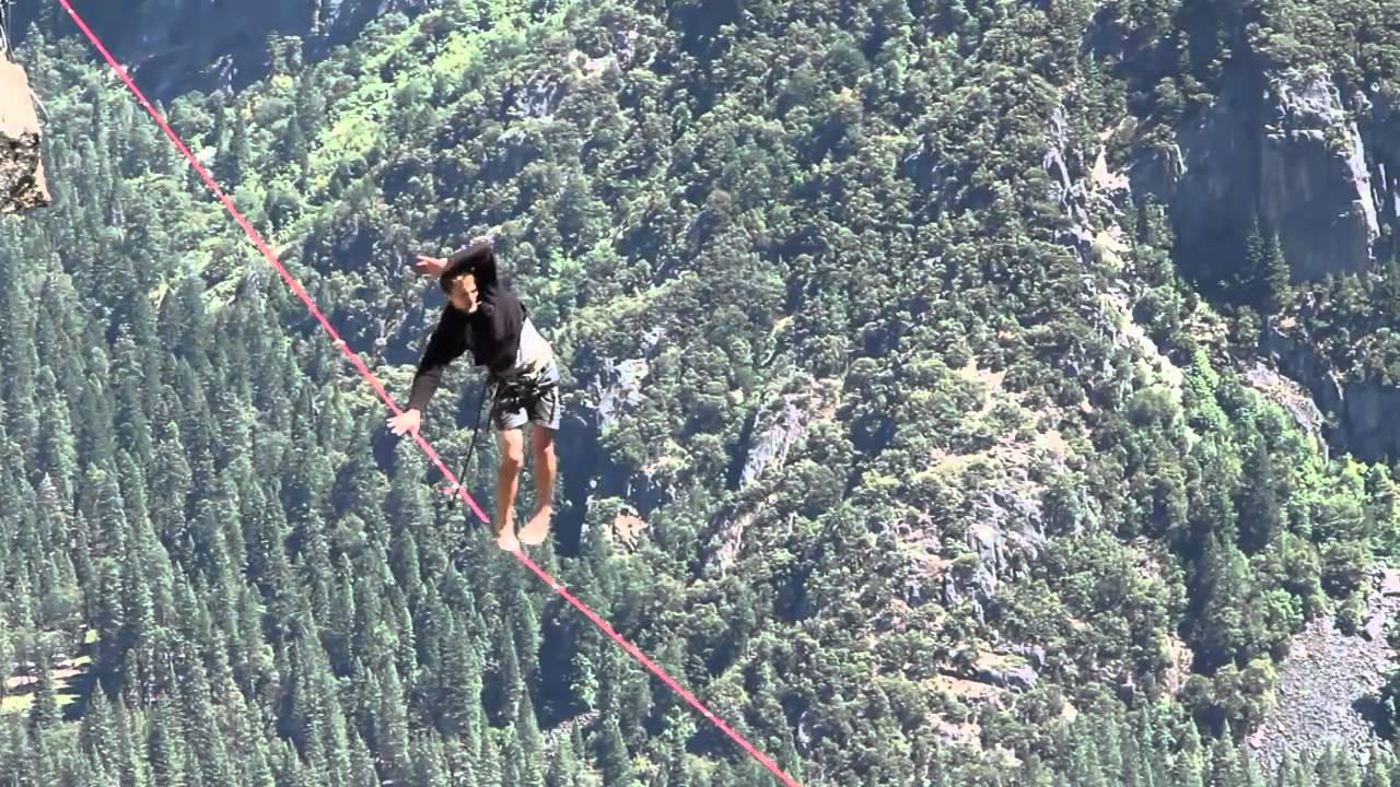 Slacklining Over Yosemite Falls Youtube