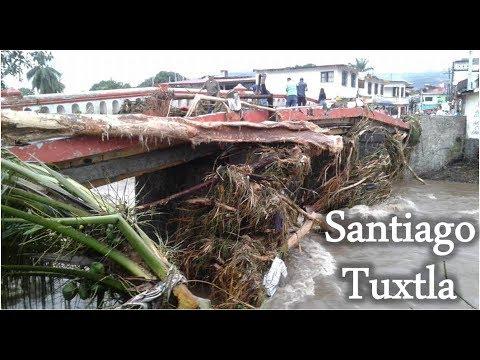Inundación en Santiago Tuxtla en México, el río se lleva casas enteras 2017