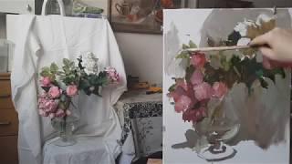 Натюрморт с розами. О гармонии контрастных цветов в живописи.