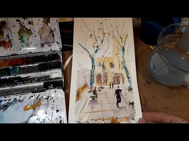 Plaça Rovira a l'hivern [1 pintura en 1 minut]