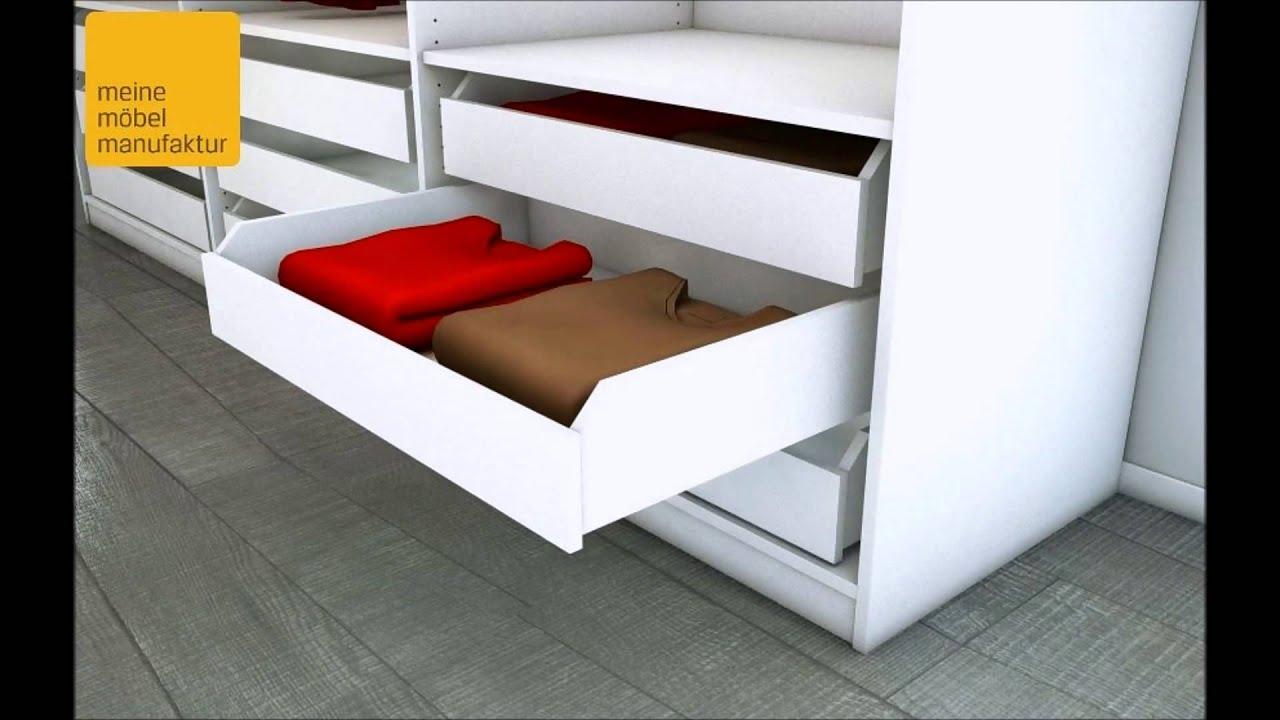 begehbarer kleiderschrank element mit schubk sten und kleiderstangen youtube. Black Bedroom Furniture Sets. Home Design Ideas