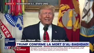 Trump annonce la mort d'Al Baghdadi : sa déclaration intégrale