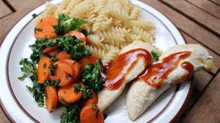 Bbq Chicken Dinner With Kale, Carrots And Noodles