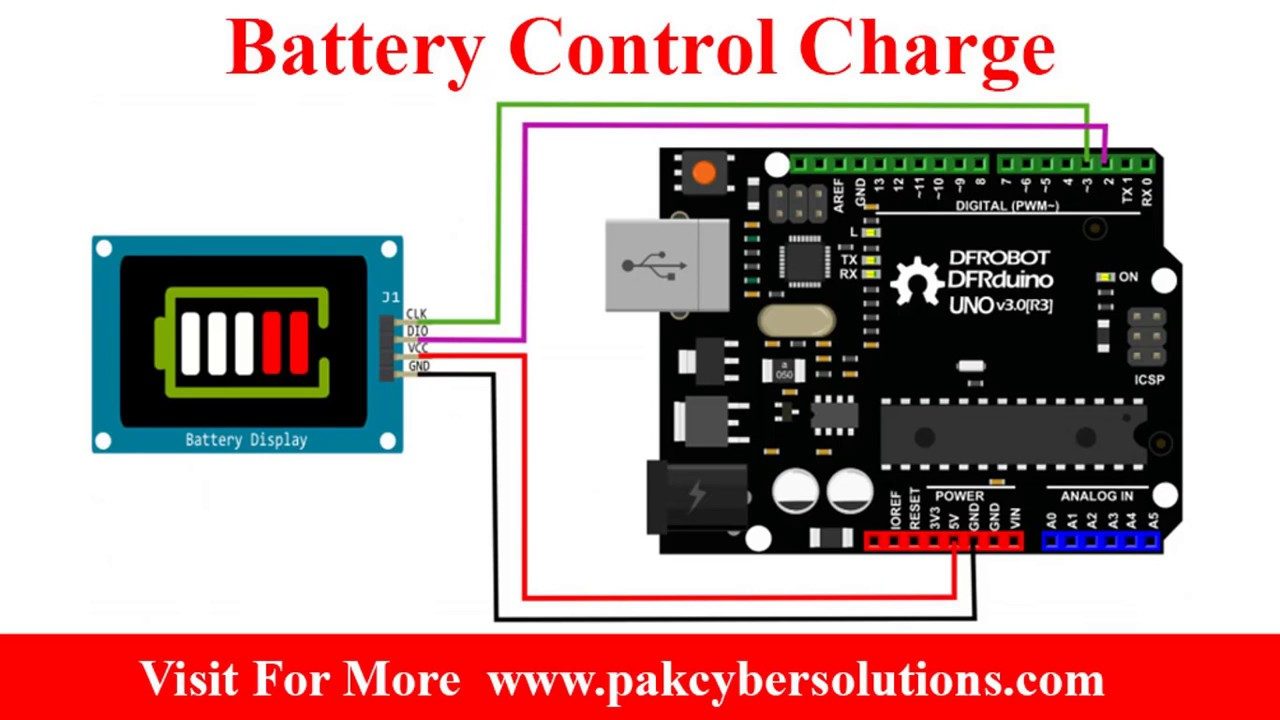 Arduino battery control charge and discharge Battery Level Indicator