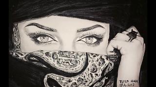 Arabian Beauty (steps of facial drawing) رسم الجمال العربي