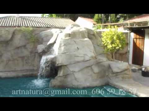 Cascada Y Pared De Roca Artificial En Piscina Youtube